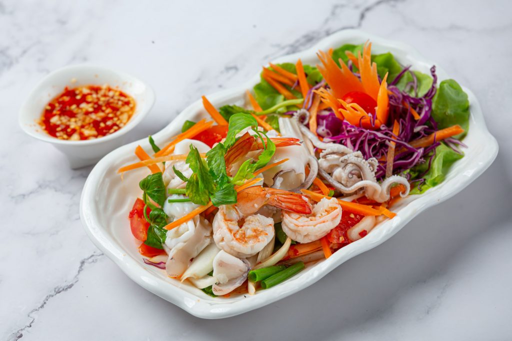 Fresh mixed seafood salad, spicy and Thai food.